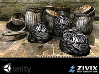 Game Assets: Low poly Garbage Bags & Cans