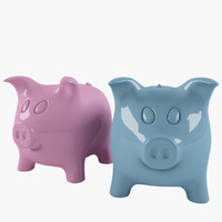 Piggy Bank Pink and Blue. Ceramic Pig