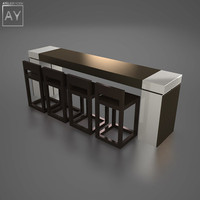 Desk / Bar / Table with Stools