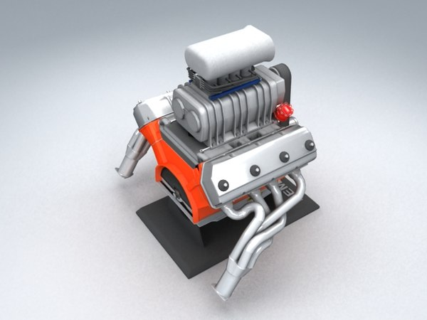 hemi 426 engine 3d model - Blown 426 HEMI V8... by fled