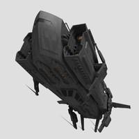 spaceship freighter sci 3d obj