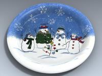 3d 3ds sonoma dinner plate snowmen