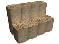 3d model sandbags barrier