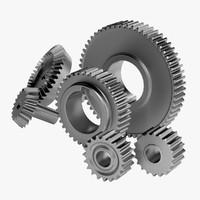 6 gears set 3d max