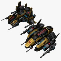 3d model 2 space ship bosses