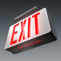 emergency exit sign obj