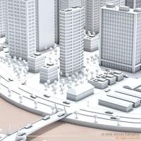 3d city river
