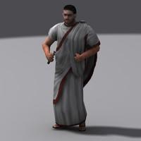 roman diplomat character walk 3d max