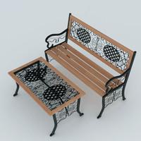 garden bench 3d model