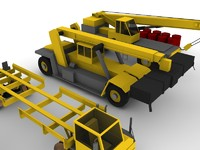 construction set cranes forklift 3d model