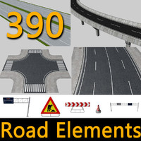 390 road elements highways 3d 3ds