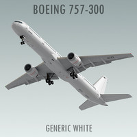 3d boeing 757-300 generic white