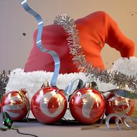 3d model santa hat christmas scene