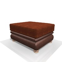 3d model fabric leather footstool
