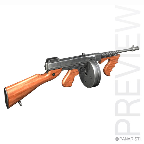 3d thompson modelled submachine gun - Thompson Model 1928 Submachine Gun... by Panaristi