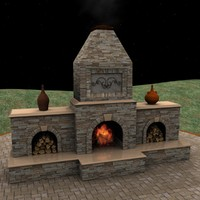 classic outdoor fireplace stone obj