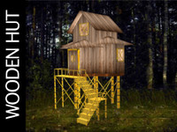 3d hut wooden