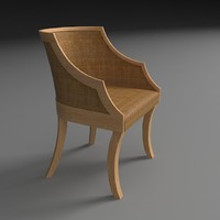 3d model chair wood rattan