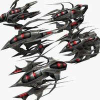 3d 5 alien fighters model