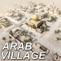 3d arab village houses