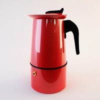 red metal coffeemaker 3d max