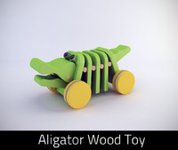3d wooden aligator toy model