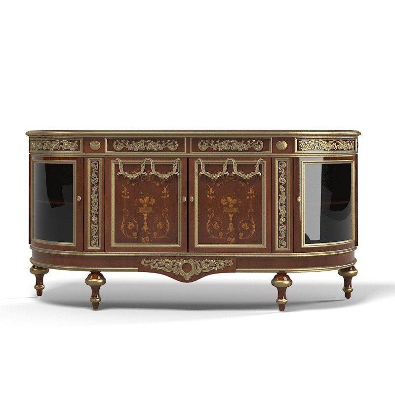 Classic sideboard commode carved baroque glass door.jpg