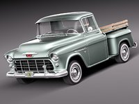 3d chevrolet pickup 1955 antique model