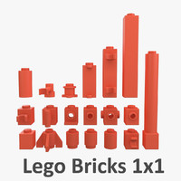 lego bricks 1x1 3d model