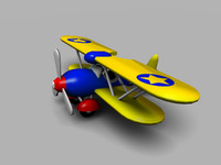 3ds max cartoon toy bi-plane
