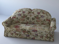 fabric sofa floral 3ds