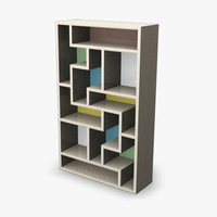 3d bookcase retro model