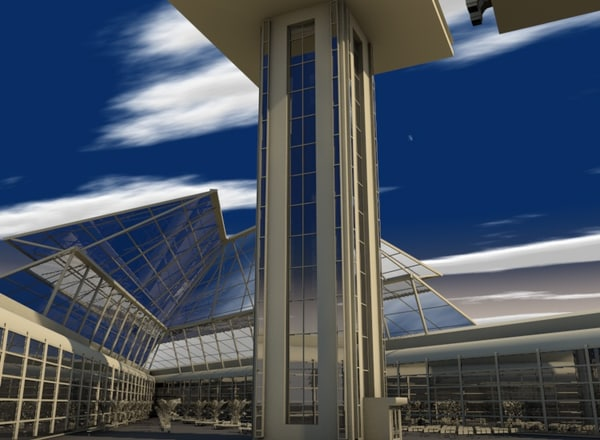 airport control tower 3d c4d - Airport scene... by ERLHN