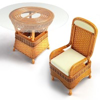 Wicker Table Chair Set 01