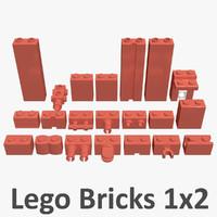 lego bricks 1x2 3d max