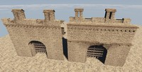 3d medieval wall construction model