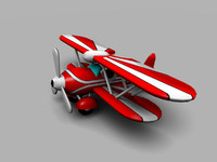 cartoon bi-plane fbx