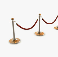 3d model of stanchions barrier rope
