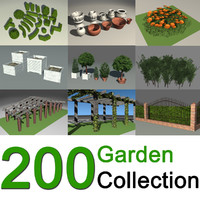 3d 200 garden design shrubs model