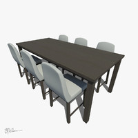 dining set table chairs 3d max