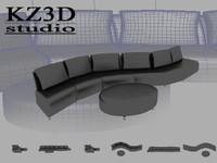 3d model gloss black long sofa furniture