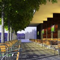 cafe design 3d model