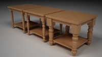 3d model of 3 different tables