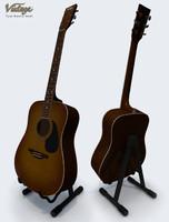3d obj vintage acoustic guitar