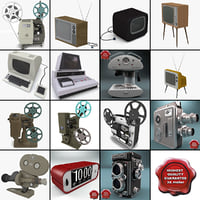 3d retro electronics v6 movie projector model