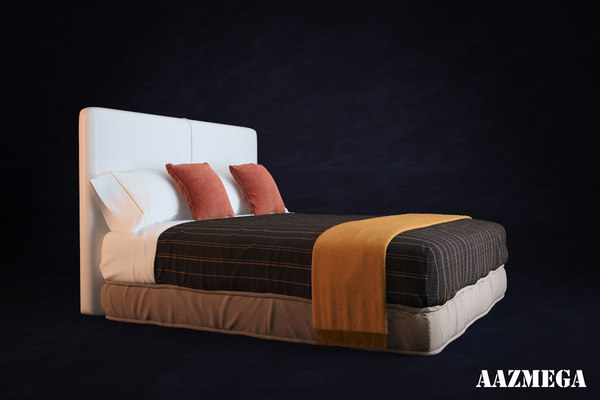 3d high-poly bed pillows - Bed with pillows... by aazMega