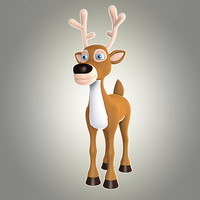 3d obj cool cartoon christmas deer