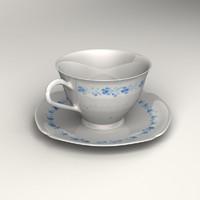 tea cup plate 3d max