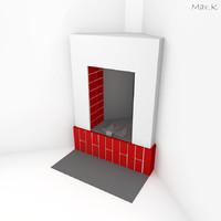 corner fireplace 3d model