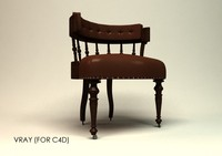 3d antique desk chair model